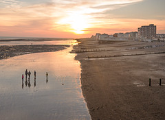 Worthing beach (Tractorboy1981) Tags: uk sunset sea england people beach sussex worthing sand dusk pebbles shore