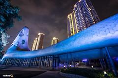 Weird Tech Hive (Andy Brandl (PhotonMix.com)) Tags: china distortion strange architecture modern night lights shanghai warped textures bent highrises wth snakeskintexture