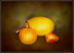 Art class project (edenseekr) Tags: gourds pumpkin pear photopainting stilllifecomposition