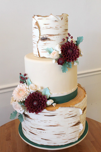 White Birch Tree Wedding Cake with Dahlia Sugar Flowers