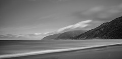 Ocean Beach (russellstreet) Tags: longexposure newzealand blackandwhite bw cloud beach water oceanbeach wellingtonregion wharekauhau