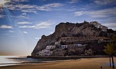 Poniente beach Benidorm (Nico Carlini) Tags: sea cliff sun beach water la spain sand rocks playa espana poniente benidorm lightroom