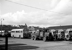 Dock Street Bus Park (Dundee City Archives) Tags: old dundee photos bus busses public transport 1960s dockstreet park 27 30 single decker recovery tender vehicle lorry towing yj9125 yj5894 leyland