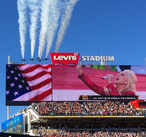 Lady Gaga sings the National Anthem at S by jurvetson, on Flickr