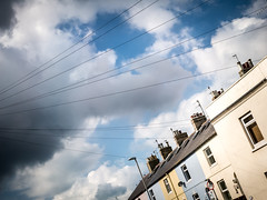 Saturday Morning, Weymouth (dorsetpeach) Tags: england lines wire telephone angles dorset telephonelines weymouth telephonewires rodwellavenue