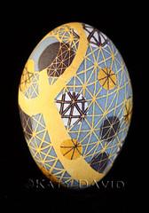 """Celestial Path"" (Katy David Art) Tags: white black art yellow movement map folk path space egg fine gray goose planets wax pathway eggshell batik orbits guidelines beeswax"