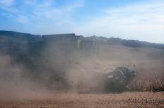 Harvesting Soy (DJ Witty) Tags: field nikon farm equipment velvia combine dust fujichrome johndeere fm2n harvestor