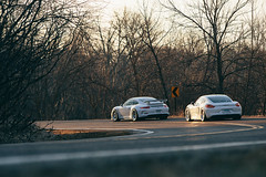 Corner at Dawn with 311RS Porsches (Gates311) Tags: trees sunlight sunrise dawn brothers ryan gates pair 911 porsche cayman rs bbs gt3 caymans 981 gt3rs e88 311rs