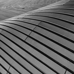 Swoosh (No Great Hurry) Tags: blackandwhite abstract london texture monochrome lines architecture mono pattern dof outdoor diagonal swimmingpool serene olympic minimalism bnw stratford swoosh ngh swoopy aquadrome swooping 1000v40f nogreathurry