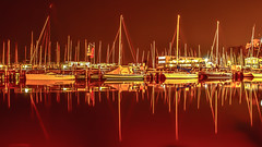 when the sailboats sleep ... (bocero1977) Tags: ocean longexposure light red sea sky orange seascape reflection water colors lines night sailboat germany warnemünde nikon exposure ship nightlights bright harbour outdoor balticsea mast hafen ostsee hdr segelboot nachtaufnahme maritim alterstrom