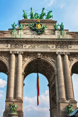 Arcade Triomphr (BoneJina) Tags: street city morning travel brussels vacation house holiday detail building art window architecture landscape town high europa arch view roman outdoor walk top famous empire arcdetriomphe overview famousplace builtstructure triomphr