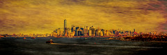 Manhattan Skyline (Erin Cadigan Photography) Tags: city nyc newyorkcity urban panorama newyork building art texture tourism water horizontal skyline architecture river painting island harbor daylight moody cityscape view manhattan worldtradecenter surreal panoramic borough daytime wtc hudson statenisland freedomtower