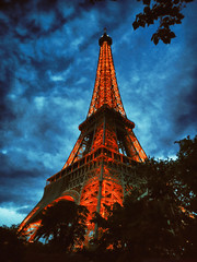 Paris by night (Dale Michelsohn) Tags: sky paris france tower art night photoshop french lights evening paint eiffel effect treatment dalemichelsohn parisinjune2010