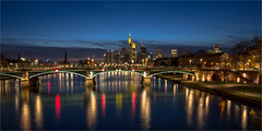 Frankfurt am Main (zilverbat.) Tags: city longexposure nightphotography bridge wallpaper reflection water night reflections germany de deutschland nightlights nightshot image frankfurt postcard visit bluehour innercity afterdark brucke citytrip tripadvisor zilverbat longexposurebynight elvinhagekpnplanetnl