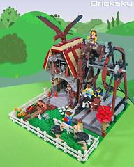 Old Mill House Ferris Wheel Ride (Bricksky) Tags: park old house mill animals wheel amusement ride lego ferris moc bricksky