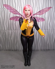 x-men pixie 02 (CE Photogenetix) Tags: pink portrait woman halloween beautiful beauty metal female silver comics studio fly flying costume wings kiss comic cosplay flight pixie fairy xmen hero superhero fairey marvel catsuit smooch select canon40d christinaedwards