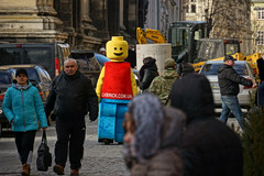 Life-Size Lego Man on a Street (tarmo888) Tags: people lego lviv ukraine special lvov  lww lemberg  lwow leopolis ukrayina photoimage  sooc sonyalpha  pictureeffect sony geosetter  geotaggedphoto nex7 sel18200 foto hdrpainting year2016