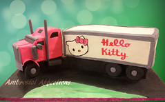 Hello Kitty Semi Truck (Cakes by Ambrosial Affections) Tags: hello birthday cake truck carved ganache kitty handpainted semitruck fondant