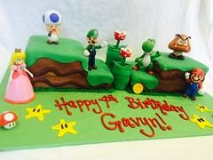 Mario Birthday Cake (tasteoflovebakery) Tags: birthday red game green mushroom yellow cake video peach mario luigi
