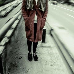 Time passing too fast (Luiza Preda) Tags: road street red urban green art feet girl grass les stairs luiza photography cross coat fine romania mysterious asphalt cluj napoca deteriorate preda chartier manastur ourskirts