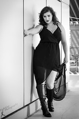 Alani - 3 (FightGuy Photography) Tags: blackandwhite wall boots longhair brunette rosslyn blackdress canon7dmkii fightguyphotography