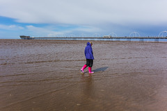 A cold spring day on Southport Beach (tabulator_1) Tags: sea southport southportpier