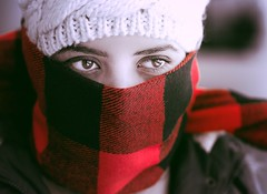 intense Red...... (dtapkir) Tags: winter red portrait woman detail girl face hat lady scarf eyes nikon veil bokeh 85mm anger sharp cap covered d750 1200 unusual 18 800 outrage intensity f35