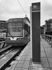 DC Streetcar (IamJomo) Tags: blackandwhite bw monochrome washingtondc tram lightrail streetcar iphone jomo takenwithaniphone iphoneography iphone6 dcstreetcar snapseed smallworldphotos jomophoto