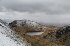 Lake District March 2016 163 - Seat Sandal and Grisedale Tarn (Mark Schofield @ JB Schofield) Tags: winter england sky cliff lake snow mountains english ice rain hail st rock grey high place wind path top district dove low sunday lakes scenic peak hills national cumbria fells trust summit hart moors gill tarn crags cairn fairfield birks visibility crag ghyll arnison boardale mountainspark