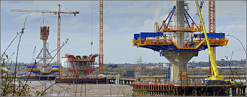 The Mersey Gateway Project (Photo update)  Southern Pylon form traveller raised to deck level 8th April 2016