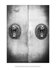 Door 2 (Stephen Weston Photography) Tags: door white black detail building monochrome museum architecture liverpool handle photography mono photo blackwhite fuji pics lion images structure stephen fujifilm weston x20 lightroom 2016 stephenwestonphotography