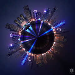 ~ Tiny Planet_Sharjah ~ (Chirag Khatri) Tags: city urban panorama skyline architecture night photoshop photography lights evening amazing nikon long exposure cityscape outdoor pano uae 360 tiny planet sharjah experiement d7200