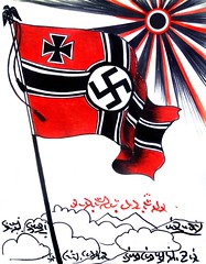 Nazi flag. Part of history (Sofia Metal Queen) Tags: red sun art history germany artwork flag fineart nazi swastika creative ww2 historical handwork 20century naziflag