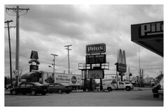 (mister.gregster) Tags: road trip usa white black film car station by analog drive highway fuji mcdonalds gas billboards shooting 100 pilot acros
