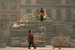 life goes on 1 (Ivo De Decker back from holiday) Tags: morning travel nepal light morninglight asia praying streetphotography streetlife destroyed bakhtapur ivodedecker destroyedmonument