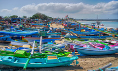 Beached Boats in Bali (Stuck in Customs) Tags: pink november blue bali color green beach horizontal indonesia landscape boats photography boat photo colorful asia southeastasia day market shore dailyphoto trey 2015 ratcliff hdrphotography stuckincustoms p2016 treyratcliff stuckincustomscom sonya7r