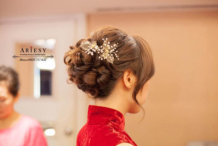 愛瑞思造型團隊,Ariesy 愛瑞思品牌訂製手工婚紗,新祕Hanya,台北新祕推薦,大直典華,蓬鬆線條編髮,訂婚造型,新娘造型,旗袍造型