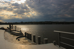 Cloudiness and a cool place (Amy ::) Tags: water sunshine clouds dock hudsonriver rays beacon longdockpark