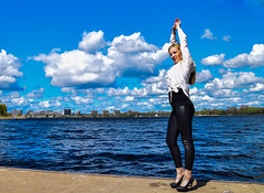 Kim Lobbezoo 10 (M van Oosterhout) Tags: portrait people woman sun lake holland cute netherlands girl beautiful face fashion female clouds model pretty photoshoot modeling stunning editorial