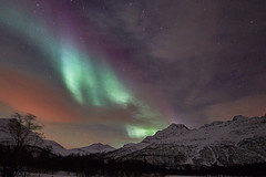 Aurora borealis at Tromso Norway (designcover2006) Tags: winter sky norway colorful north polar mountians borealis tromso