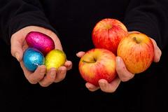 Easter Eggs & Apples (Mukumbura) Tags: food healthy hands apples choice unhealthy eastereggs