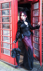 """The Phone box"" (Azadeh Brown) Tags: red england girl beauty fashion lady fairytale vintage dark hair doll mourning cosplay lace antique character gothic goth 19thcentury victorian vogue lolita parasol victoriana librarian corset cape romantic egl elegant azadeh winchester bonnet alternative jacktheripper streetfashion visualkei charlesdickens bolero highfashion victorianfashion charlottebronte pennydreadful vintagemodels persianbeauty fascinator newromantic victorianlady laceshawl darkfairytale vintagemodel fishtaildress littledorrit persianmodel azadehbrown victorianbeauty victoriancharacter"