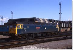 47620 'Windsor Castle' moves off Bath Road, March 31st 1986 (Bristol RE) Tags: bristol 47 windsorcastle bathroad 1654 class47 47070 47799 47835 81800 47620 d1654