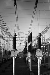 Electric (Bullpics) Tags: blackandwhite bw monochrome electric nikon power wires electricity bergen volt d7100