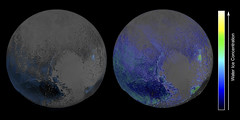 Pluto's Water Ice Distribution (sjrankin) Tags: ice composite edited nasa pluto waterice annotated newhorizons 30january2016
