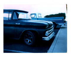 Vintage trucks parked at hardware store (EllenJo) Tags: arizona january verdevalley 2016 january30 polaroidlandcamera instantfilm fujifp100c fujiinstantfilm ellenjo ellenjoroberts polaroidpathfinder rollfilmcameraconvertedtopackfilm