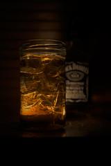 Whiskey in the jar (Jarek Jahl) Tags: glass germany dark lights shadows bokeh tennessee whiskey depthoffield alcohol jar jackdaniels sigmalens nikond7200 sigma1835mmf18dchsmart