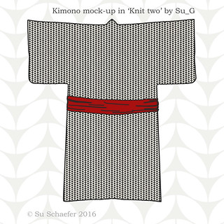 Slimline kimono mockup in small scale 'Knit two' with red sash