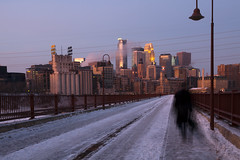 Minneapolis morning (Lucie Maru) Tags: city bridge winter urban snow cold ice minnesota skyline walking town midwest downtown walk north january minneapolis urbanskyline stonearchbridge icyroad