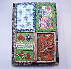 Four Seasons Journal Cover (polymerclaycreations) Tags: winter summer fall spring seasons polymerclay journalcover pcagoe monthlychallenge polymerclaycreations millefiorifloral